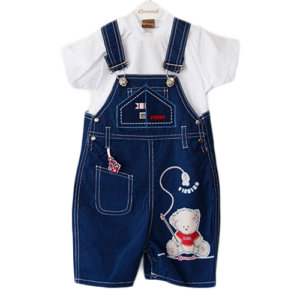 """FISHING TEDDY"" TWO PIECE JUMPSUIT BABY BOY SET"
