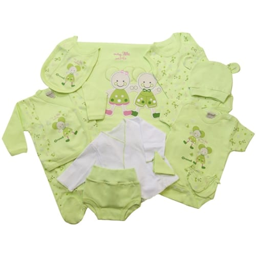 NEWBORN BABY SET-ELEVEN PIECE green