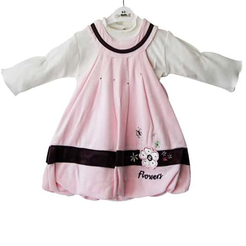 Baby Girl Flowery Dress and Shirt SeT - Pink