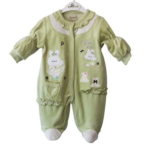 Baby Girl Jumpsuit Bunny and Music_GREEN