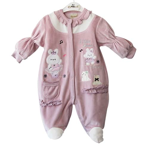 Baby Girl Jumpsuit Bunny and Music_purple