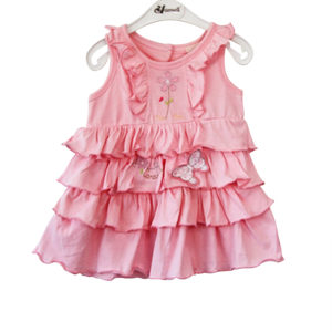 Bunnies and Ruffles Ribbon Baby Girl Dress _pink