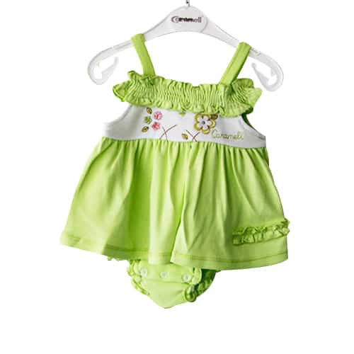 Caramel Flowers Baby Girl Dress green