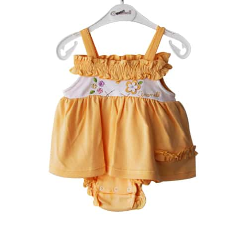 Caramel Flowers Baby Girl Dress_orange