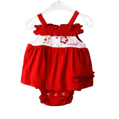 Caramel Flowers Baby Girl Dress_red