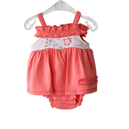 Caramel Flowers Baby Girl Dress_salmon