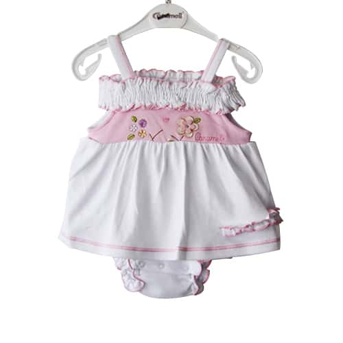 Caramel Flowers Baby Girl Dress_white