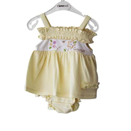 Caramel Flowers Baby Girl Dress_yellow