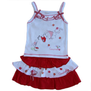 Flying Bunny Ruffled Skirt Baby Girl Set Red