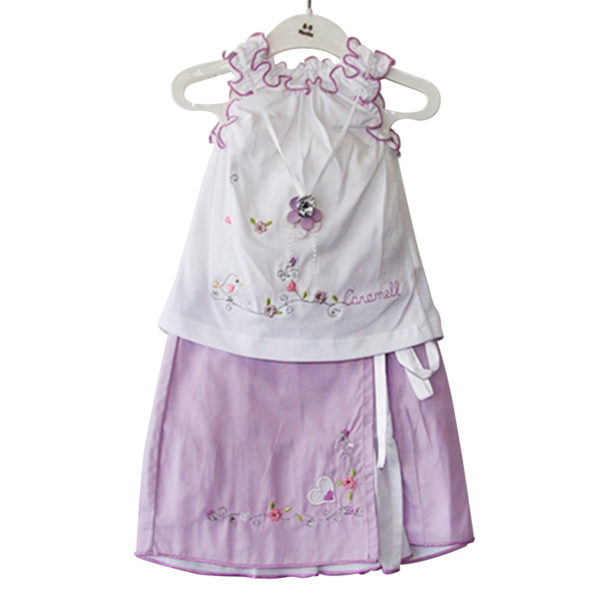 Hearts and Flowers - Baby Girl Dress Purple
