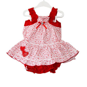 Ribbon and Dots_ Baby Girl Dress with Headband red