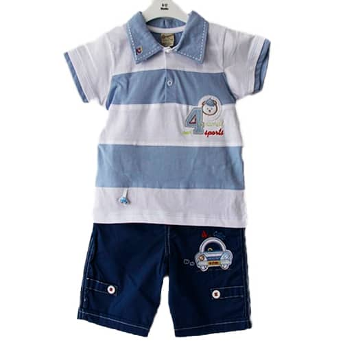 STRIPED SHIRT- NAVY PANTS BABY BOY OUTFIT
