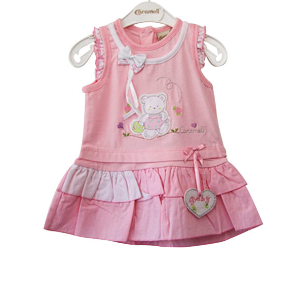 Teddy with Basket Hearts Baby Girl Dress pink